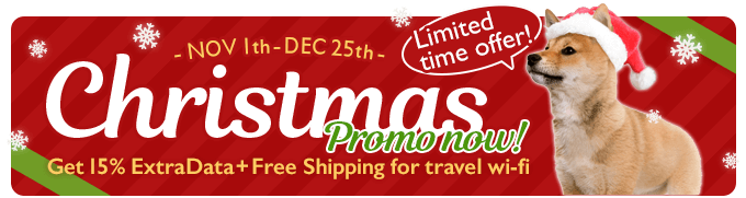 CHRISTMAS PROMO NOW! TRAVEL WIFI 15% Extra 4G Data. Free Shipping.